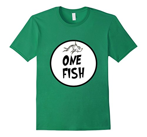 Mens Cute Rhyming One Fish T-shirt | Matching Croup Costume Medium Kelly (Easy Halloween Costumes For Kindergarten Teachers)