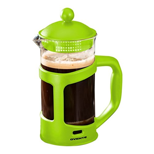 Ovente French Press Cafetière Coffee and Tea Maker, Heat-Resistant Borosilicate Glass, 34 oz (1005 ml), 8 cup, Green (FPT34G), FREE Measuring Scoop