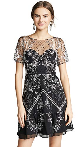 Marchesa Notte Women's Chiffon Dotted Tulle Cocktail Dress, Black, 10
