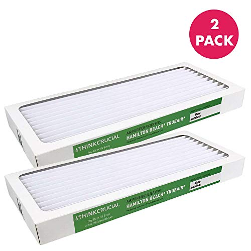Crucial Air Filter Replacement Parts Compatible with Hamilton Beach True Air Part 990051000 - Fits Air Purifier Models 04383, 04384, 04385 - HEPA Style Filters Capture Mites, Pollen Bulk (2 Pack)