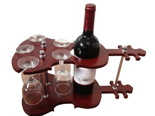 iBRIGHT Wood Wine Holder, Holds 1 Bottle/5 Cups
