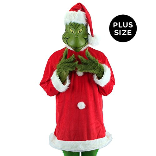 Dr. Seuss Santa Grinch Costume XXL with mask, tunic, hat, and gloves by elope