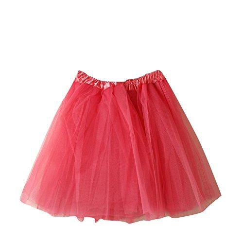 SaiDeng Mini Tutú Enaguas Multicapa De Volantes Frilly De Ballet Falda De La Mujer Prom Noche Ocasión Accesorio Verde Sandía Roja