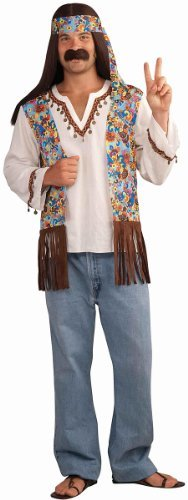Forum Novelties Men's Groovy Hippie Costume Shirt and Headband, Multi Colored, One Size -