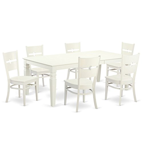 East West Furniture LGRO7-LWH-W 7Piece Table & Chair Set with One Logan Dining Room Table & Six Dining Room Chairs in Linen White Finish For Sale