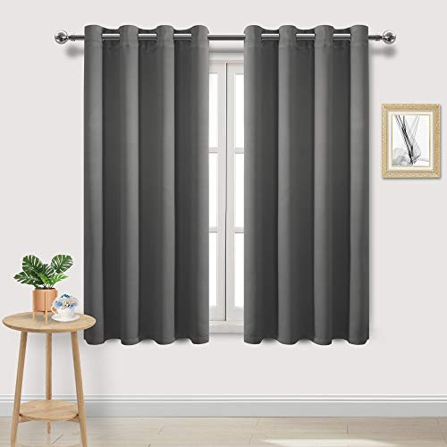 (DWCN Dark Grey Room Darkening Blackout Curtains - Thermal Insulated Privacy Energy Saving Window Curtain Drapes 52 x 63 inch Length, Set of 2 Bedroom Living Room Curtains)
