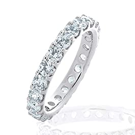 2.0 CT Lab Grown Diamond Eternity Stackable Wedding Ring in 10K Gold, Sparkling in E-F Color and VS Clarity