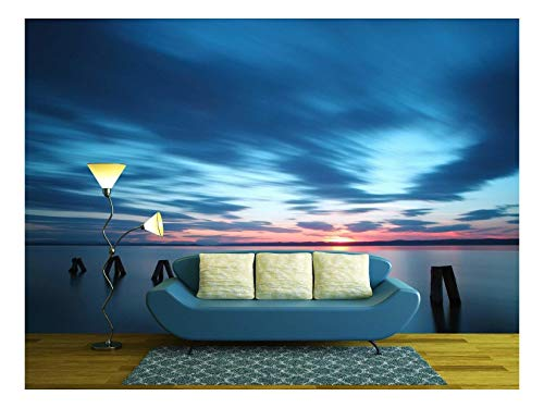 - wall26 - Ocean Sunset - Removable Wall Mural | Self-Adhesive Large Wallpaper - 100x144 inches