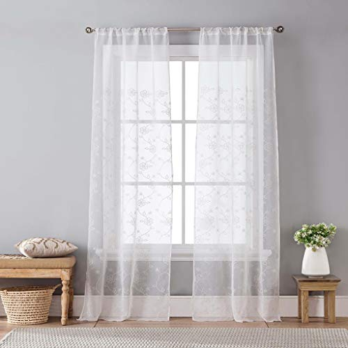 Home Maison Harlow Embroidered Floral Sheer Pole Top Window Curtain Drapes For Bedroom, Livingroom, Kids Room, Children, Nursery - Assorted Colors - Set of 2 Panels, 35 X 96, White, 2 Piece (Drapes Window Harlow)