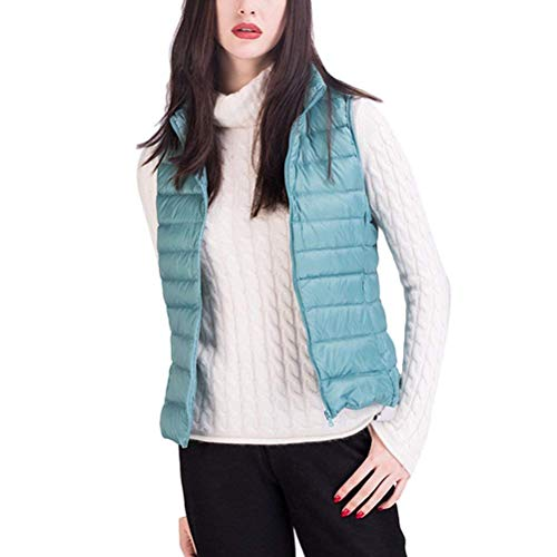 Saoye Fashion Mujer Chaleco Invierno Sin Mangas Pluma Camisolas Color Sólido Cuello Alto Bolsillos Delanteros con Cremallera Abrigos Caliente Ropa Hipster Prendas Exteriores Azul