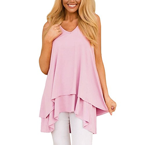 Lace Tank Ribbed Top (Pervobs Tank Tops, Women Loose Flowy Sleeveless Ruffle Layer V-Neck Asymmetric Hem Swing Tunic Tank Top (3XL, Pink))