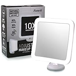 "Fancii 10X Magnifying Lighted Makeup Mirror - Daylight LED Travel Vanity Mirror - Compact, Cordless, Locking Suction, 6.5"" Wide, 360 Rotation, Portable Illuminated Bathroom Mirror (Square)"