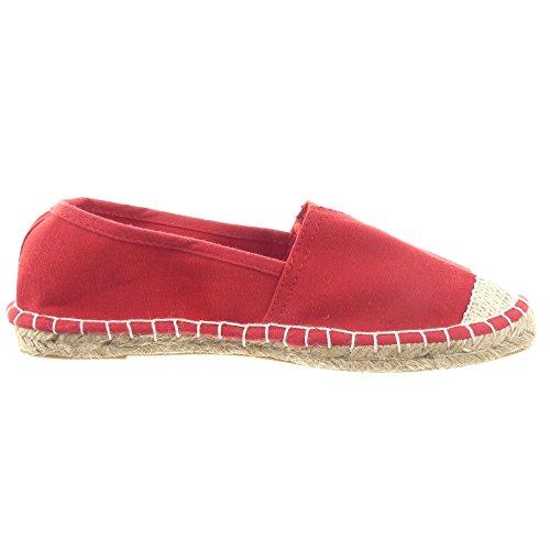 Sopily - Chaussure Mode Espadrille Ballerine Slip-On Cheville femmes finition surpiqûres coutures strass diamant corde Talon bloc 1.5 CM - Rouge
