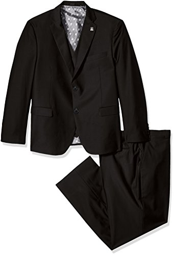 STACY ADAMS Men's Tall Bud Big & Tall Vested Slim Fit Suit, Black 50 Regular