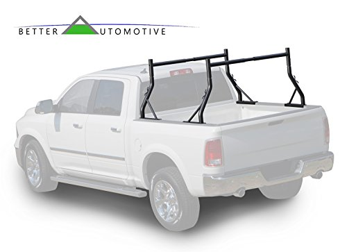 BETTER AUTOMOTIVE Adjustable Truck Bed Ladder Rack 2 Bars Pick up Rack 500 LBS Capacity Utility Contractor Universal for Kayak Canoe Boat Ladder Pipes Lumber Cargo Carrier Accessories