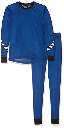 Helly Hansen Junior Kids Lifa Dry Baselayer Thermal Underwear Shirt and Pant Set, 563 Olympian Blue, Size 16