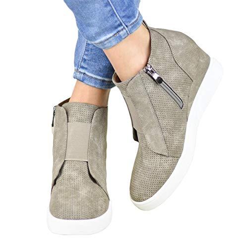 Ankle Boots Women Flat Heeled Hidden Wedge Booties Ladies Autumn Winter Shoes with Zip Platform Martin Boots Fashion Trainers ElegantClassics Black Brown Pink 34-43 Brown