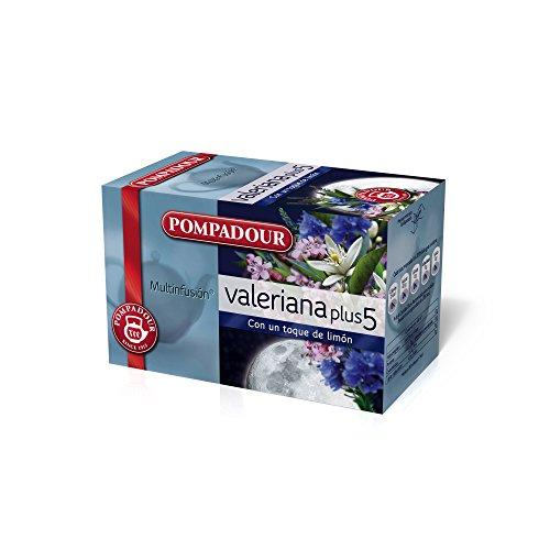 Pompadour - Te de valeriana plus 5 - 20 bolsitas (40 g) - [Pack de 5]
