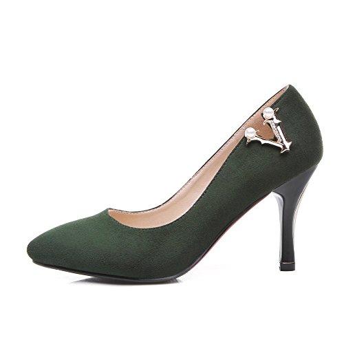 AgooLar Damen Stiletto Spitz Zehe Rein Ziehen auf Pumps Schuhe Dunkelgrün