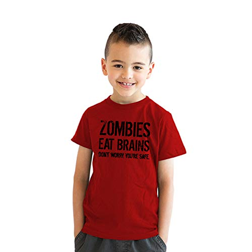 Youth Zombies Eat Brains Shirt Funny Zombie T Shirts Living Dead Zombie Outbreak Tees (Red) - L