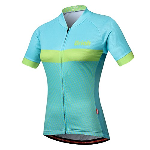 Uriah Women's Bike Jersey Short Sleeve Reflective with Rear Zippered Bag Light Green Size L