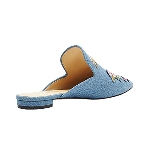 Lovirs Womens Loafers Flats Embroidery Mule Slippers Shoes Denim hIXpg