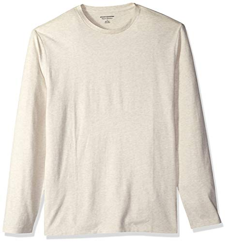 (Amazon Essentials Men's Regular-Fit Long-Sleeve T-Shirt, Oatmeal Heather, Medium)