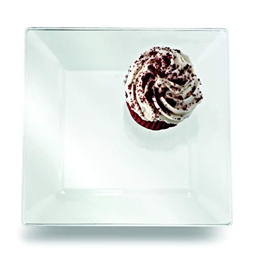 Yoshi Squares 6-Inch Dessert Plate, Clear (Pack of 10) ()