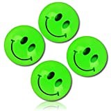 Custom & Unique {25mm} 1720 Bulk Pack, Mid-Size Super High Bouncy Balls, Made of Grade A+ Rebound Rubber w/ Glowing Glow In The Dark Friendly Happy Smiley Face Expression Emojis Style (Green & Black)