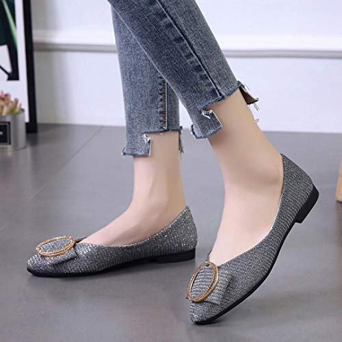 Single Shoes Shallow Pointed Fashion Flat Sequins Party On Women Silver Heel Slip Low FALAIDU Shoes H7wqAvx7