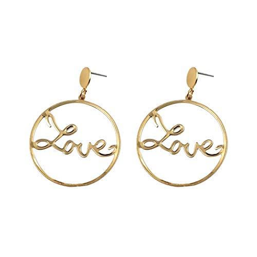 COM1950s Ladies Girls Ring Creative Travel Bohemian Big Circle Earrings Personality Geometric Earrings Jewelry (Gold)