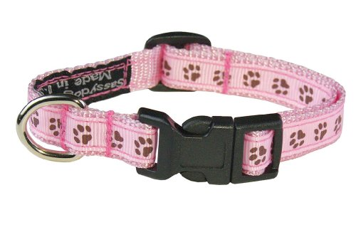 Sassy Dog Wear 6-12-Inch Pink/Brown Puppy Paws Dog Collar, X-Small
