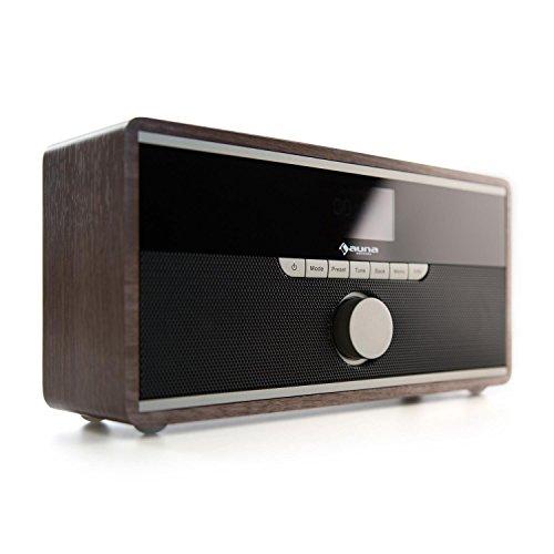 Auna Weimar Retro Internetradio DAB+ Wlan Radio mit Bluetooth (AUX-IN, 5,5 x 3cm Display, Sleep-Timer und Weck-Funktion, Nostalgie-Holz-Radio) walnuss