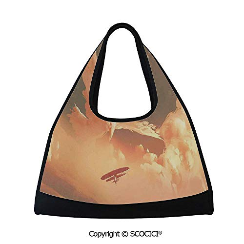 (Tennis racket bag,Phoenix Bird Shaped Fluffy Cloud in Sunset with Plane Freedom Paint,Sports and Fitness Essentials(18.5x6.7x20 in) Cream Blue)