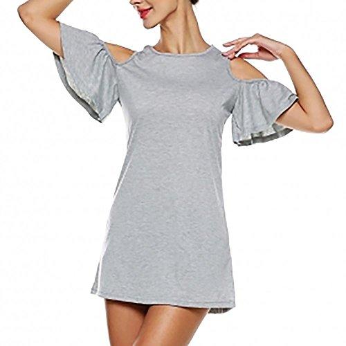 Summer Style européen Femmes Sexy Solide Couleur froid épaules dénudées Party Robe trapèze Gray M