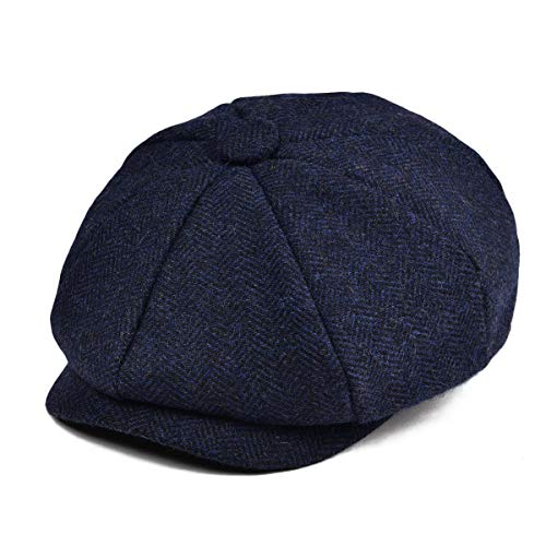 JANGOUL Boys Vintage Newsboy Cap Tweed Flat Beret Cabbie Hat for Kids Toddler Pageboy (48cm(6-24 Months), Navy)]()