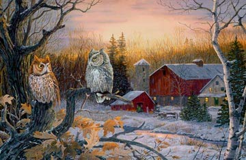 - Northcott Panel Night Fall with Owls at The Farm On A Winter Evening Cotton Fabric