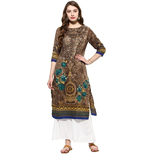 Lagi Kurtis Ethnic Women Kurta Kurti Tunic Digital Print Top Dress Casual Wear New Launch by (Brown) by Lagi