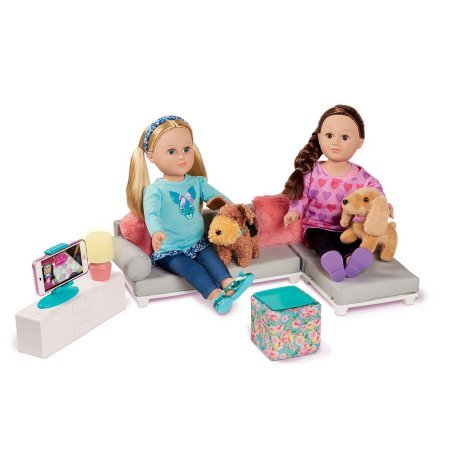 My Life As Living Room Set With LOVELY GRAY SECTIONAL And Even a Lampshade That Lights Up - Perfect As Hangout Or Movie Night For Your Favorite Dolls!