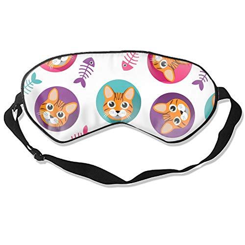 Good Night Sleep Mask - Cat and Fishbone Eye Cover, Best Gift for Women & Men, Ultimate Sleep for Travel & Night Sleep - Cover Fishbone