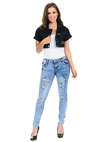 (M.Michel Women's Denim Jacket - Style 251 - Indigo - Size Large)