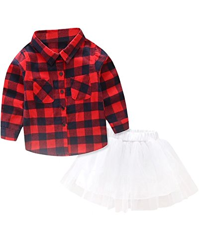 Toddler Little Girls Dress Outfit, Long Sleeves Plaid Flannel Dress Shirt Tops + Tutu Skirt 2 Pieces Clothing Set, Red Plaid, Age 12M - 18M (12-18 Months) = Tag 80