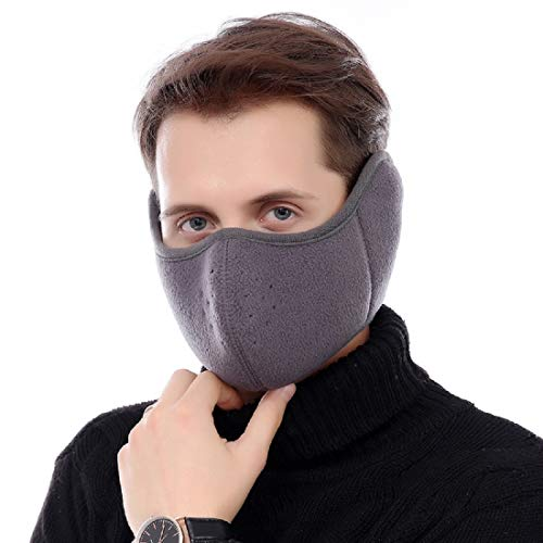 STbra Windproof Dust Ski Mask Cold Weather Winter Motorcycle Half Face Mouth Warmer Fleece Mask Polyester Fleece Mask for Women Men Youth Snowboard Cycling (New Gray)