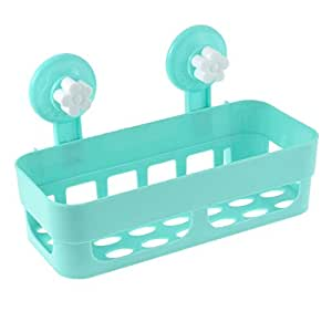 uxcell ABS Plastic Bathroom Shower Accessories Shelf Blue White