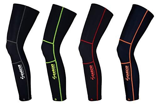 Zimco Cycling Biking Super Roubaix Winter Cycling Thermal Leg Warmers Black (Red Stitches, Medium) ()