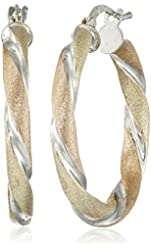 Tri- Color Sterling Silver Twisted Round Hoop Earrings