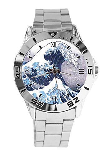 Great Wave Design Analog Wrist Watch Quartz Silver Dial Classic Stainless Steel Band Women's Men's ()