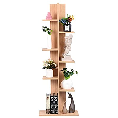 Giantex Multipurpose Storage Shelf Space-Saving Bookshelf Bookcase Wood Plant Stand Display Shelf for Books Photos Artwork Flower Vases Pot Storage Holder Rack w/ 8 Open Well-Arranged (Shallow Walnut) - 📔🌵〖Multifunctional Standing Shelf〗: The simple but functional design of our open display shelf makes it suitable for both home, dorm room, apartment, condo, café or office. The storage shelf can various stuff such as display books, photos, potted plant, artwork etc. 📔🌵〖8 High & Low Shelves for Good View〗: 8 Shelves are well arranged at different heights. Upper tier and lower tier will not influence with each other. Each tier has a good view for visitors' watching and appreciating. The distance between each tier is spacious enough to hold most stuff. White color looks simple and highlights stuff you displayed on the shelf. 📔🌵〖Durable Wood Frame & Fine White Finish〗: The 7 tier display stand is made of high-quality wood, which gives the shelf a sturdy and durable frame. Wooden boards are thick enough to stand the weight of all stuff on it. Each tier can hold up to 11 lbs. Bottom tier is flat and even to give a stable base. White finish effectively prevents the shelf from being wet. - living-room-furniture, living-room, bookcases-bookshelves - 41fRwLnKHxL. SS400  -