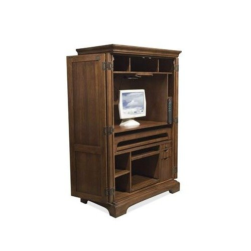 Amazon Callon Solid Wood Computer Armoire in Dark Cherry