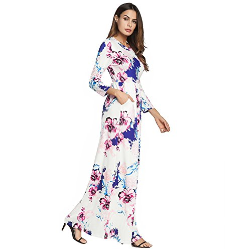 Dress Long Loose antaina Swing Party Sleeve White Wrap Boho Beach Long Print Floral X1Xxfz